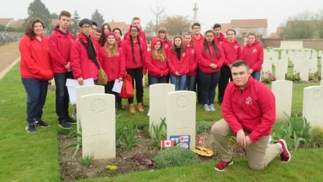 Andrew Poirier and group on Vimy Pilgrimage 2019