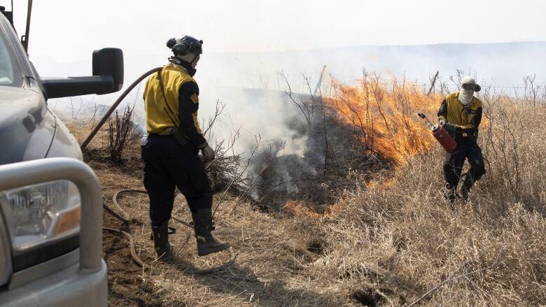 Firefighters continue to battle grass fire near Biggar, Sask.