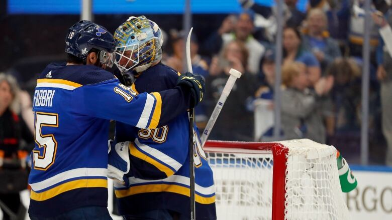 30b87a384 Blues' Robby Fabbri, left, and goaltender Jordan Binnington are just two of  the 20 Canadians to cheer for on St. Louis' roster.