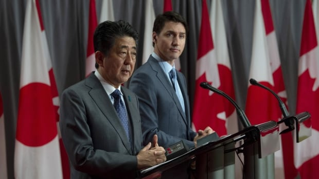 China top of mind as Trudeau hosts Japan's Shinzo Abe