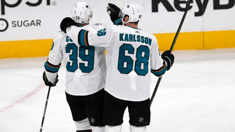 best service 8f73f 71a0b San Jose Sharks centre Melker Karlsson, right, congratulates centre Logan  Couture after his empty-net goal against the Colorado Avalanche during the  third ...