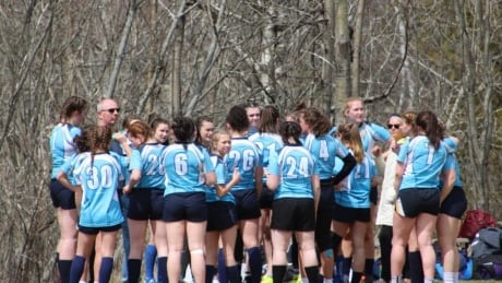 Rugby players at Charles P. Allen High School in Bedford