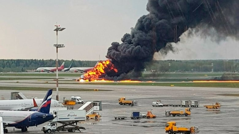 Burning Aeroflot plane lands in Moscow