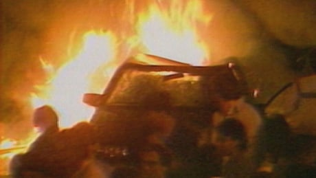 Car on fire in Montreal, during Stanley Cup celebrations in 1986