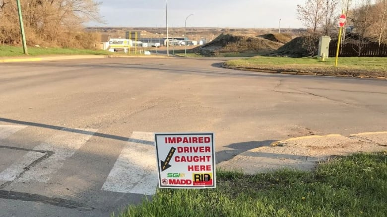 'Impaired driver caught here': Estevan woman hopes signs remind drunk drivers 'you can be caught'