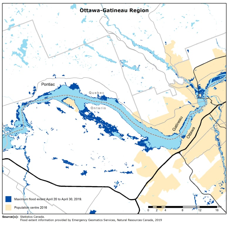 Ottawa On Map Of Canada.Spring Flooding In Ottawa Gatineau By The Numbers Cbc News