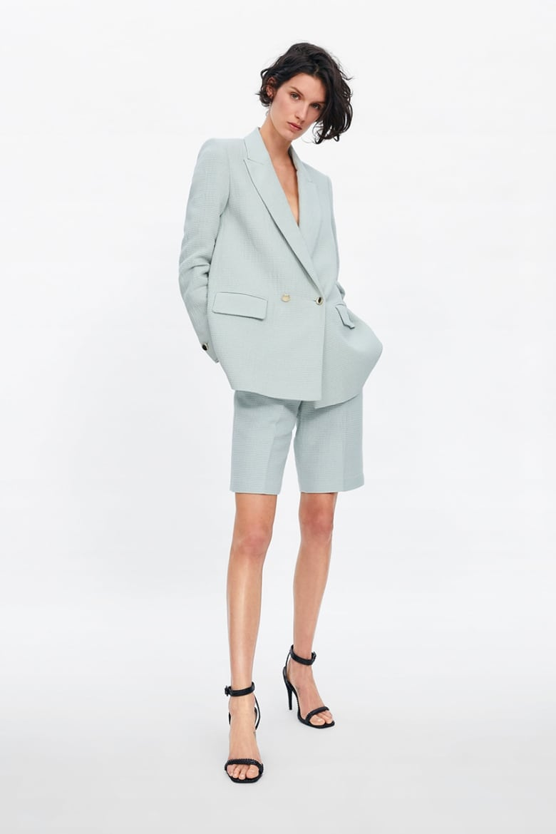 d01db47f4 A slouchy short and blazer set in a pastel shade might be one of the most  original ways to pull off a suit for prom. Try strappy white kitten heels  and gold ...