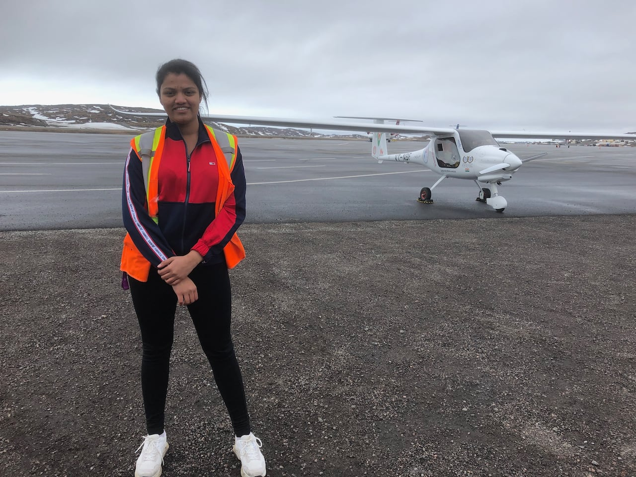Riding on a white bird with long wings': Woman flies