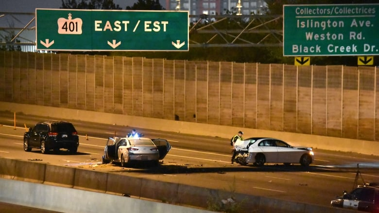 Woman dead, 3 injured in crash on Highway 401 in Toronto   CBC News
