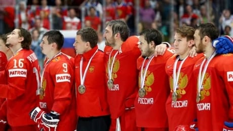 Russia claims hockey worlds bronze with shootout win
