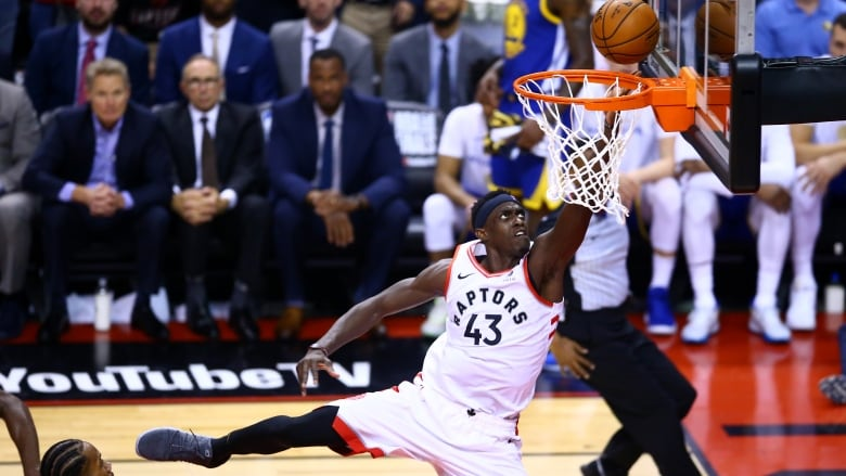 1594193e8b3 Pascal Siakam drops in two points in the Toronto Raptors' win over Golden  State in Game 1 of the NBA Finals on Thursday. (Vaughn Ridley/Getty Images)