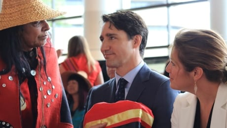 Gladys Radek has a moment with Prime Minister Justin Trudeau