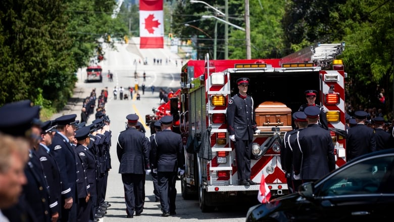 Hundreds of first responders pay their respects to fallen firefighter