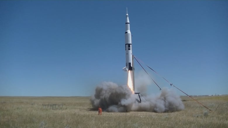 Blast off! Homemade rocket ship launches in Alberta to mark