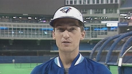 Blue Jays first baseman John Olerud talks to CBC's Midday in 1993