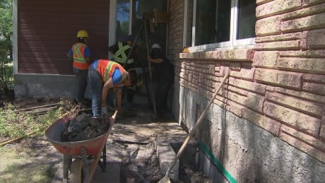 Foundation repairs being done on a home in Winnipeg