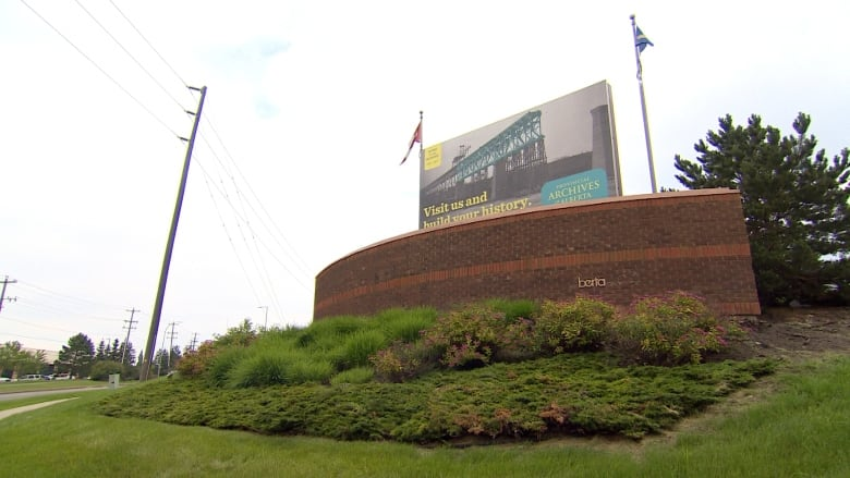 Brass lettering stolen from provincial archives building sign | CBC News