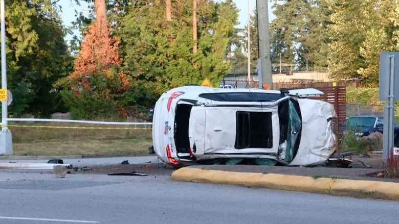 Crash sends at least 1 person to hospital with serious injuries, knocks out power in Surrey