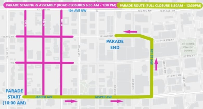 this map shows the 2019 k-days parade route (in green) as well as the area  that will be closed to traffic between 6:30 a m  and 1:30 p m  (in pink)