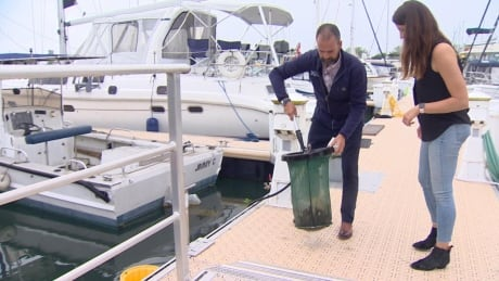 Toronto marina installs experimental floating garbage cans to keep water