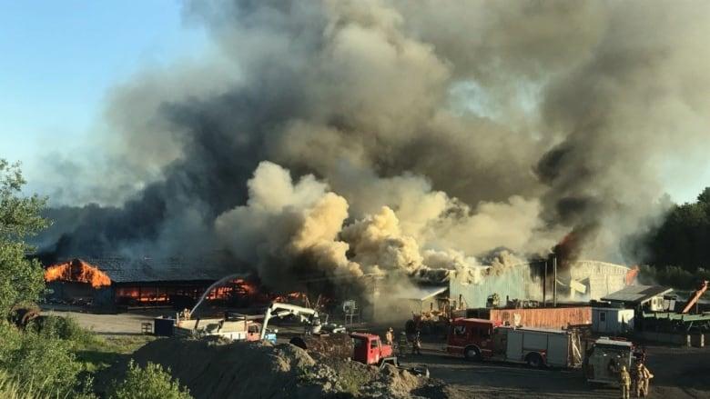 Muskoka Timber Mills fire, 3rd incident of day in Bracebridge, rages all night