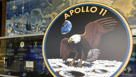 Apollo 11 plaque in Teague Auditorium lobby