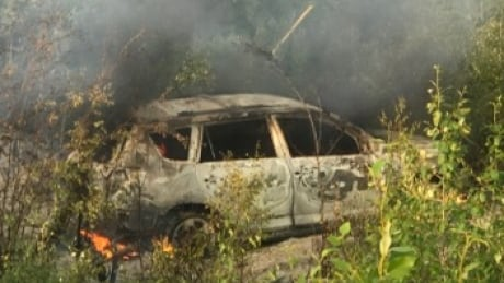 Burnt-out car in northern Manitoba