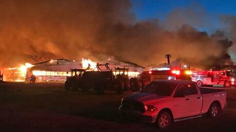 Barn fire near Steinbach