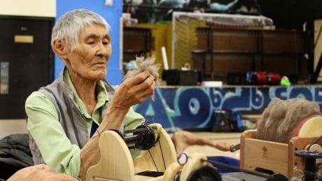 Helen Iguptak spinning musk ox NACA