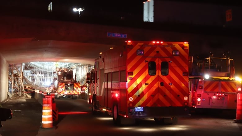 Highway overpass under construction collapses in Quebec City, injuring 3