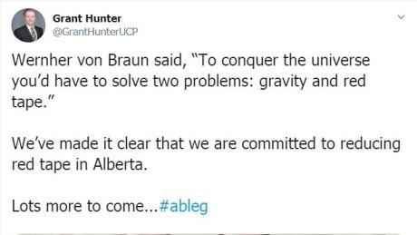 Grant Hunter UCP MLA tweet