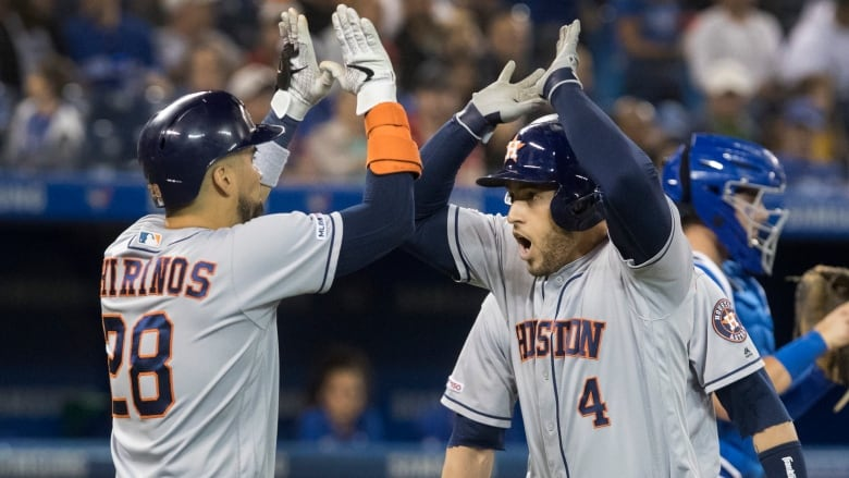 quality design 2b4fb 6b09f George Springer's 4 RBI night leads Astros past Blue Jays ...
