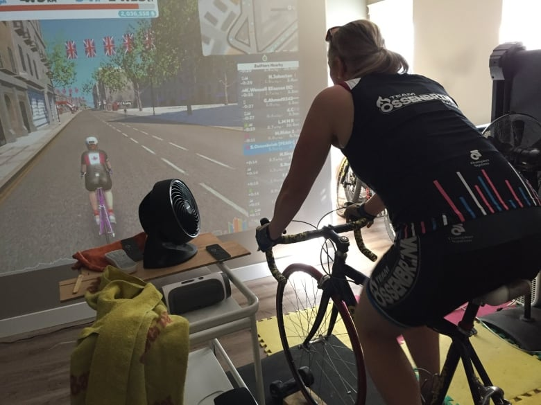 Why this B C  couple chose virtual bike racing over outdoor