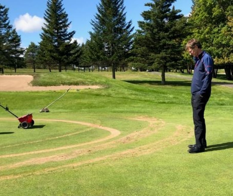 Vandal in all-terrain vehicle rips up Hartland golf course