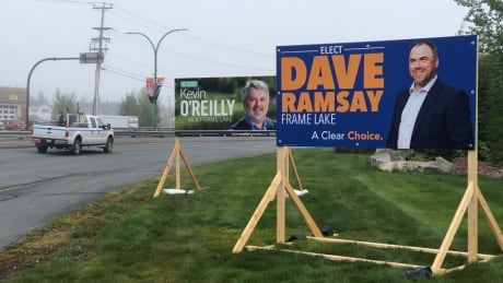 Dave Ramsay and Kevin O'Reilly election signs in Yellowknife