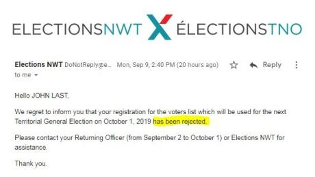 Elections NWT rejection notice