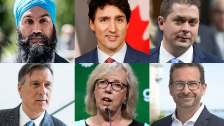 Singh, Trudeau, Scheer, Bernier, May, Blanche