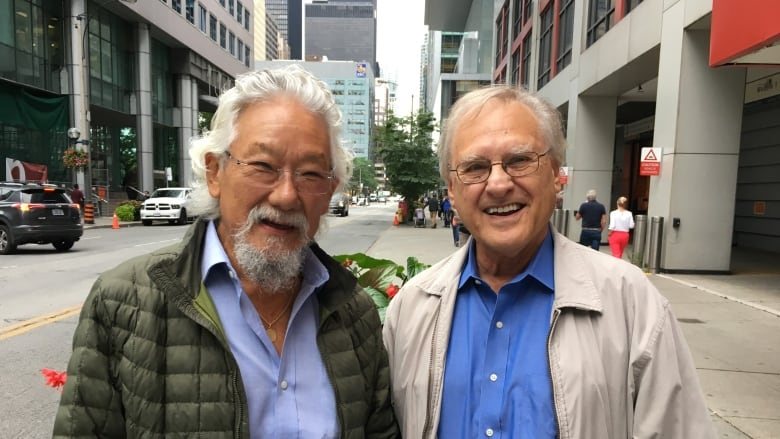 David Suzuki and Stephen Lewis on their pre-election climate tour