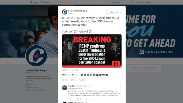 Conservatives forced to delete tweet alleging Trudeau under RCMP investigation | CBC News