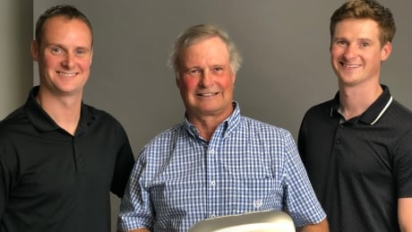 Tom Gibson,  with sons Daryl Gibson (left) and Kyle Gibson (right)
