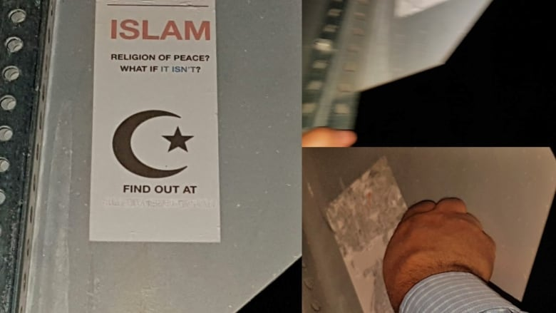 'Sneaky way to make people feel othered': Sherwood Park resident rips down anti-Muslim sticker