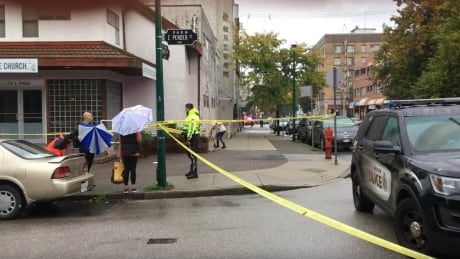 Police tape, crime scene shooting Hastings and Dunlevy 22 Sept. 2019