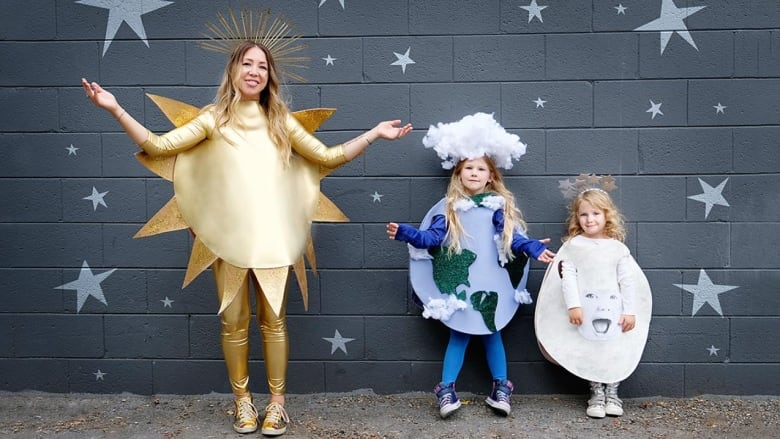 Sun Earth And Moon Group Halloween Costume A Super Stylish No Sew Look For The Whole Fam Cbc Life