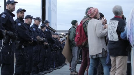 halifax police protesters macdonald bridge
