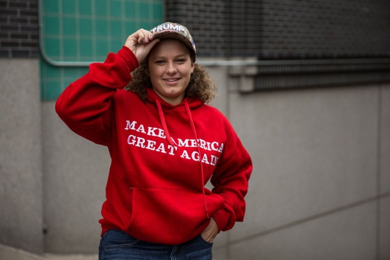 Seventeen-year-old Julia Narthaler said being at the Trump rally in Minneapolis was 'a pretty amazing feeling.'(Jason Burles/CBC)