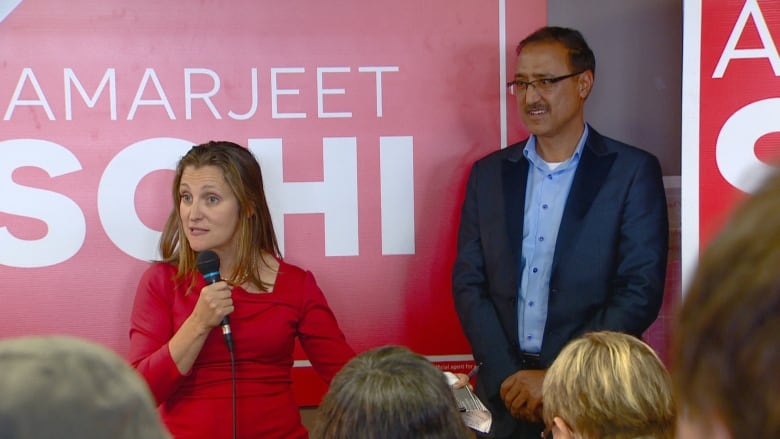 Chrystia Freeland rallies in closely contested Edmonton ridings 2 days before election