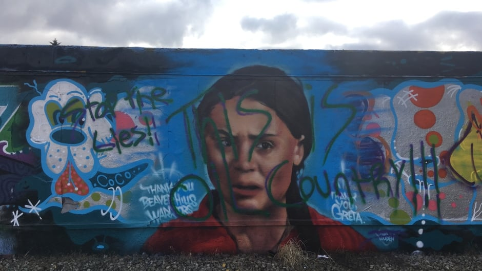 cbc.ca - CBC News - 'This is oil country': Newly painted Greta Thunberg mural gets defaced, covered in slurs