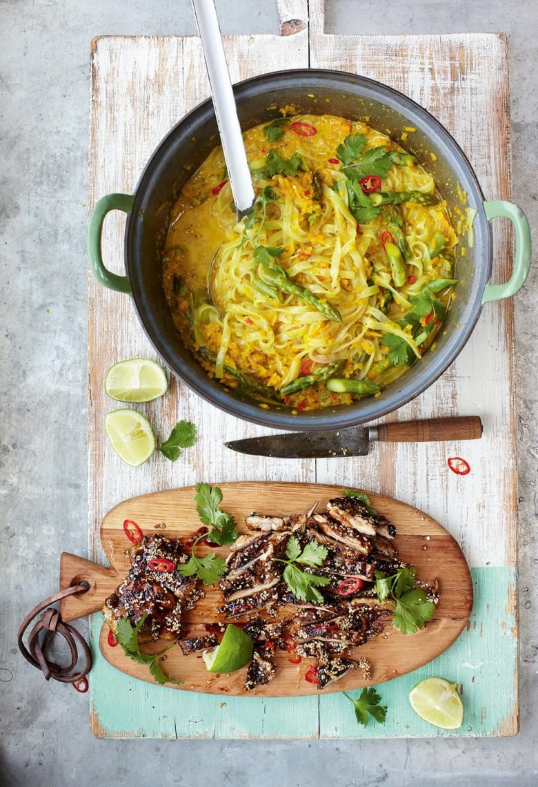 Jamie Oliver S 15 Minute Meals Thai Style Chicken Laksa With Mildly Spiced Noodle Squash Broth Cbc Life