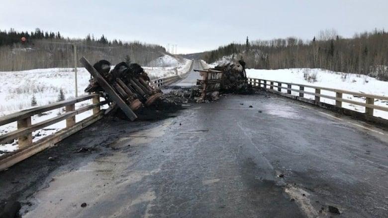 Truck carrying 40K litres of oil crashes, burns near Dawson Creek