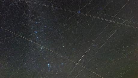 Satellite tracks over Germany 2018